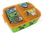 Kinder Brotdose mit 3 Fächern, Minecraft Lunchbox,Bento Brotbox für Kinder - ideal für Schule, Kindergarten oder Freizeit