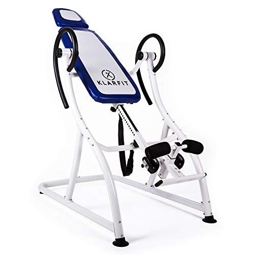 Table d'inversion professionnelle et réglable - Klarfit Relax Zone - Pour l'étirement de la colonne vertébrale - Avec une capacité maximale de 150 kg, blanc/bleu