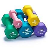 Fitness Alley Neoprene Dumbbell 5 Pairs Set Coated for Non Slip Grip - Hex Dumbbells Weight Set - Neoprene Hand Weight Pairs - Hex Hand Weights Neoprene Dumbbells Combo (2LB, 4lb, 6lb, 8lb & 10lb)