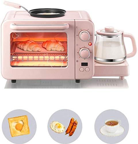 Mdcgok Ofentoaster 3 in 1 mit Antihaft-Bratpfanne und 0,8 l Kaffeemaschine Frühstücksmaschine 1400 (W) mit Temperaturanzeige mit Backheizung und Omelettfunktion 50,8 * 28 * 29,6 cm Pink