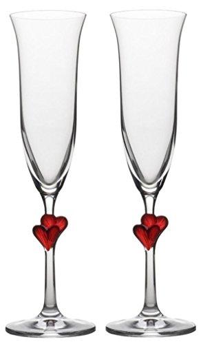 Calici da spumante Stölzle Lausitz L´Amour con cuoricini rossi, 175ml, set da 2, resistenti ai lavaggi in lavastoviglie: set-duo di romantici bicchieri da spumante per i bei momenti da festeggiare in coppia sorseggiando spumante