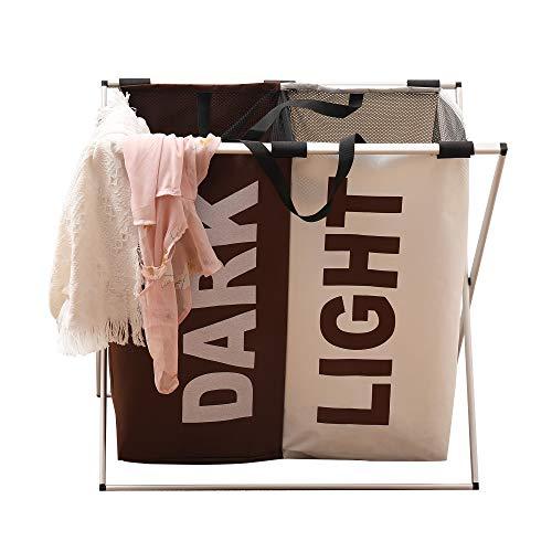 LUOWAN Wäschesammler, 2 Fächer, faltbar, wasserdicht, Aluminium-Rahmen, langlebig, für Badezimmer und Zuhause, mit Tragegriff