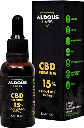 Auténtico CBD Oil 15% | Aceite de Cáñamo Bio enriquecido con 15% CBD | 30ml - 1200 gotas Aceite CBD Premium | Hemp Oil con 4500mg de Cannabidiol | 0% THC