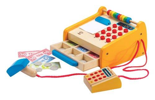 Hape E3121 - Registrierkasse, inkl. Spielgeld, Scanner und Bankkarte, Zubehör für Kaufladen, aus Holz