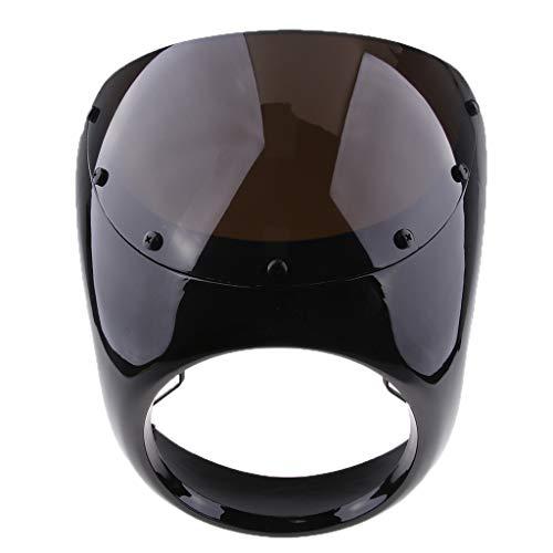 perfeclan Parabrisas Delantero de Parabrisas Delantero de 7 Carenado para Moto Cafe Racer - Negro