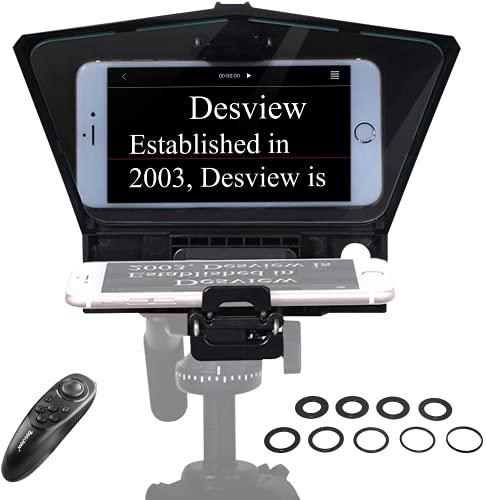 【Desview認証済み】 Desview T2 テレプロンプター ポータブルテレプロンプターキット 軽量 340g/12オンス ビームスプリッター 70/30ガラス&リモートコントロール 電話カメラ、Desview-T2-Phone-Teleprompter用