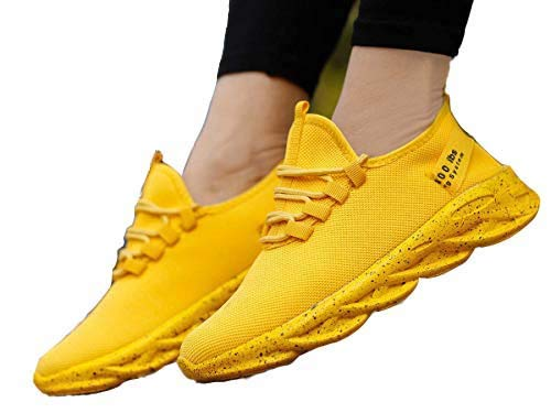 Amico Men's Running Shoes Women Breathable Jogging Shoes Men Lightweight Sneakers Men Gym Shoes Outdoor Sports Shoes Yellow