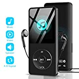 MP3 Music Player with Speaker FM Radio/E-Book/Game,Aigital Portable HiFi Lossless Sound Support Video Player Photo Viewer Voice Recorder, Support Up to 128GB - Black (Include Earphones)