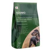 Marchio Amazon -Solimo Alimento secco completo per cani adulti ricco di manzo con piselli, 1 confezione da 5 kg