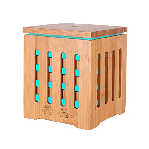 Shiro Bamboo Aromatherapie Duftöldiffusor Cool Mist Luftbefeuchter Ultrasonic with 7 Color Changing Night Lights and Waterless Auto Shut-Off, für Home Office Yoga Baby Room (200ml)