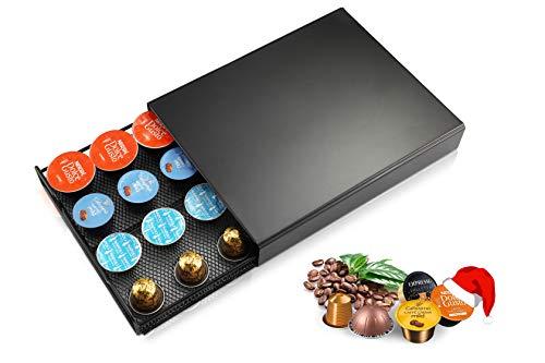 Meelio - Portacapsule per Nespresso, Dolce Gusto, Tchibo, Lavazza, 20 capsule, piedini antiscivolo, cassetto a rete, colore: nero