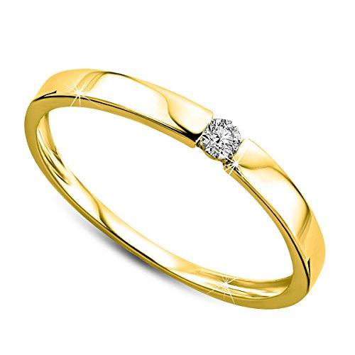 Orovi anillo de mujer solitario 0.05 Quilates diamantes en oro amarillo 9 kilates ley 375
