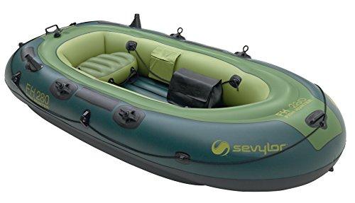 Sevylor Schlauchboot Fish Hunter FH280, ideal zum Angeln, aufblasbares Boot für 2 Erwachsene und 1 Kind, inkl. Angelrutenhalter, Vorrichtung für Elektromotor, 260 x 112 cm