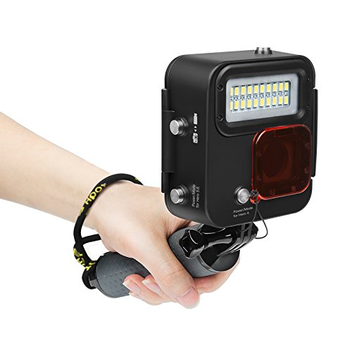 SHOOT Illuminazione Subacqueo Luce Kangaroo Immersione Snorkeling per GoPro HERO 6/HERO 5/HERO 4/HERO(2018),1000LM,Impermeabile 30m (98 piedi) Diving LED Light