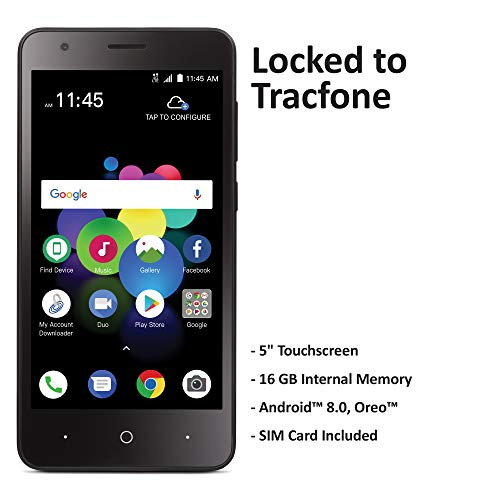 TracFone Carrier-Locked ZTE Blade T2 Lite 4G LTE Prepaid Smartphone - Black - 16GB - Sim Card Included - CDMA