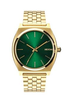Nixon Time Teller A0451919-00. Gold and Green Women's Watch (37mm. Gold Metal Band/Green Sunray Watch Face)