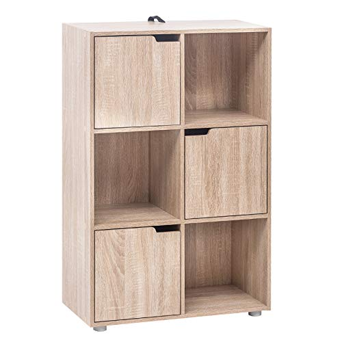 WOLTU SK001hei Libreria Armadio a 6 Cubi con Ante Mensola di Legno Portadocumenti Scaffale per Casa...