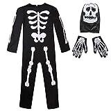 Meeyou Kids Skeleton Costume, Halloween Horror Jumpsuit for Boys&Girls (Medium, Black)