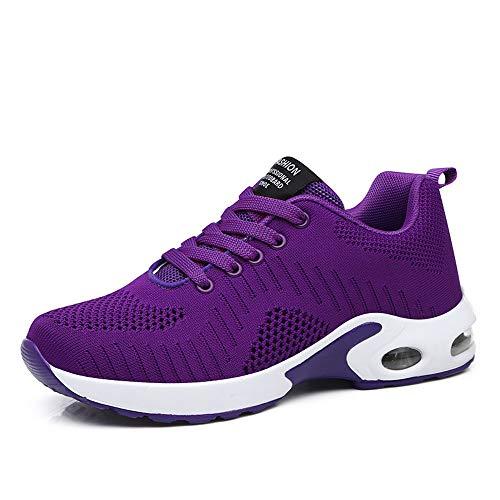Zapatillas Deportivas de Mujer Air Cordones Zapatillas de Running Fitness Sneakers 4cm Púrpura-1 38