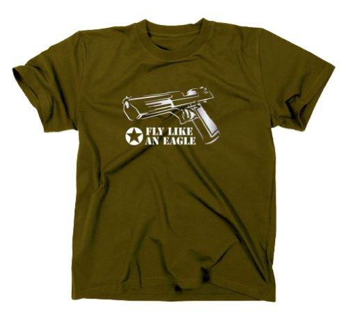 Desert Eagle Magnum MK T-Shirt CS Counter Strike Egoshooter Oliv L
