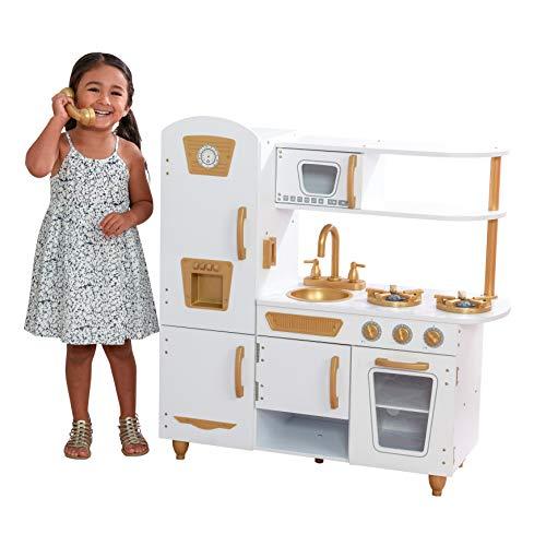 KidKraft 53445 Cucina Giocattolo in Legno per Bambini Vintage con 27 accessori per cucinare incluso, Moderna Bianca, Colore