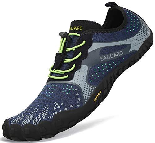 SAGUARO Outdoor Sport Barfußschuhe Damen Traillaufschuhe Herren Fitnessschuhe Atmungsaktive Zehenschuhe rutschfest Trekking Wander Schuhe Unisex Blau Gr.44