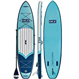 ISLE Airtech Inflatable 11ft Explorer Stand Up Paddle Board (6' Thick) iSUP Package   Includes Adjustable Travel Paddle, Carrying Bag, Leash, Pump (Aqua, 11')