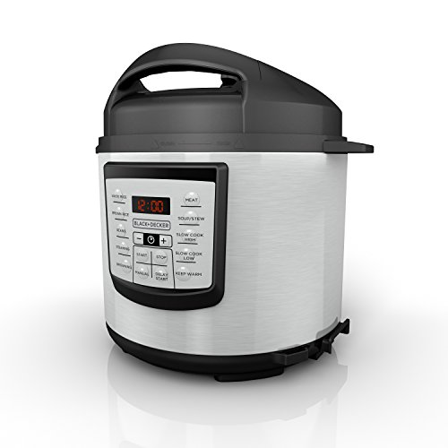 BLACK+DECKER 6 quart 11-in-1 Cooking Pot, Stainless Steel, Pressure...