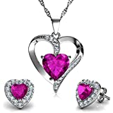 "DEPHINI - Heart Necklace & Heart Earrings Set - 925 Sterling Silver - Pink Crystal Studs & Pendant Birthstone- Fine Jewellery Set for Women - 18"" Rhodium Plated Silver Chain - Cubic Zirconia"