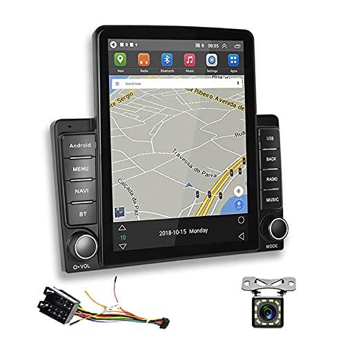 2 Din Autoradio Android GPS Podofo Écran Tactile Vertical 9,5 Pouces Radio FM RDS Bluetooth WiFi Lien Miroir 3 USB Lecteur Stéréo de Voiture + Câble Adaptateur ISO + Caméra Arrière