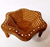 Pink City Craft Wooden Foldable Vegetable / Fruit Star Shape Sheesham Wood Basket for Kitchen & Dining Table