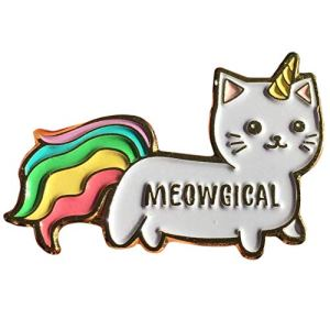 Stickeroonie Cute Rainbow Meowgical Caticorn Lapel Pin, Colorful Magical Cat Unicorn Gold Plated Decorative Pin, 1.4""