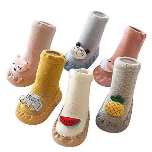 JXJ Chaussettes pour bébé - 6 Paires de Chaussettes antidérapantes Chaussettes Chaussettes de Chaussons pour bébé à l'intérieur des modèles Uniques 3D Faits à la Main pour 0-24 Mois Chaussettes