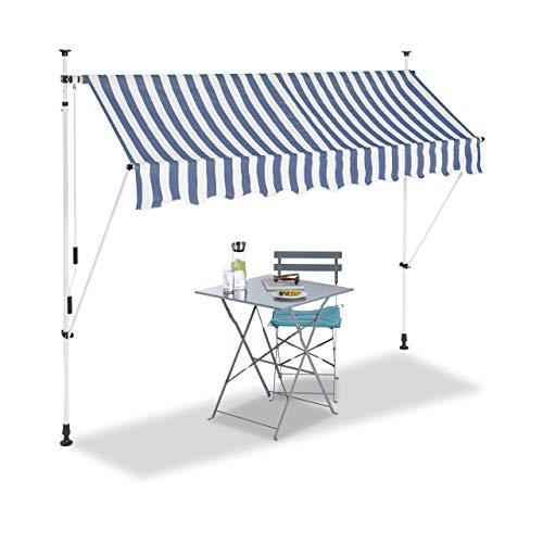Relaxdays Klemmmarkise, Balkon Sonnenschutz, einziehbar, Fallarm, ohne Bohren, verstellbar, 250 cm breit, blau gestreift