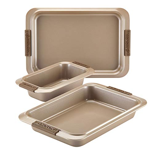 Anolon Advanced Nonstick Bakeware Set with Grips includes Nonstick Bread Pan, Cookie Sheet / Baking Sheet and Baking Pan