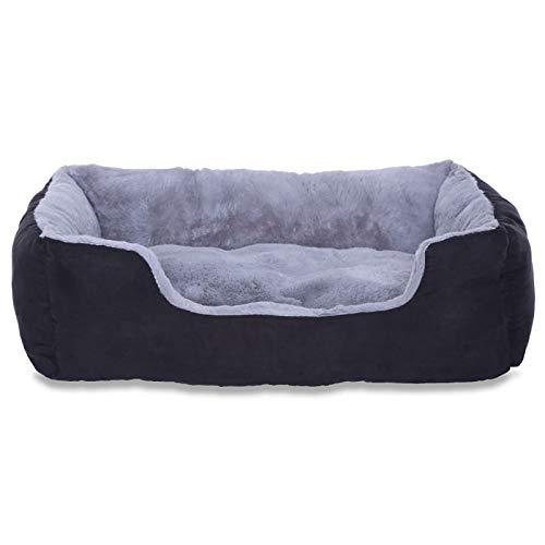 Hundebett, Hundekissen, Hundekörbchen mit Wendekissen, Größe M, Farbe grau/schwarz