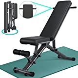 BARWING 10-5-4-2 Adjustable Weight Bench - 800lbs Folding Weight Bench 5-in-1 Strength Training Workout Bench Press for Weight Lifting with Dragon Flag, Automatic Lock Flat Incline Decline Bench for Home Gym Black