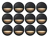 GKOLED 12-Pack Low Voltage LED Deck Lights, Landscape Step Lights with 2W Integrated LED Chips, Die-cast Aluminum 12V AC/DC Stair Railing Post Accent Lighting Fixtures with Black Powder Coated Finish