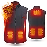 rocboc Heated Vest USB Electric Heating Vest Lightweight Waistcoat Washable Size Elastic Adjustment Heated Clothing for Motorcycle Snowmobile Bike Riding Hunting Golf (No Battery)