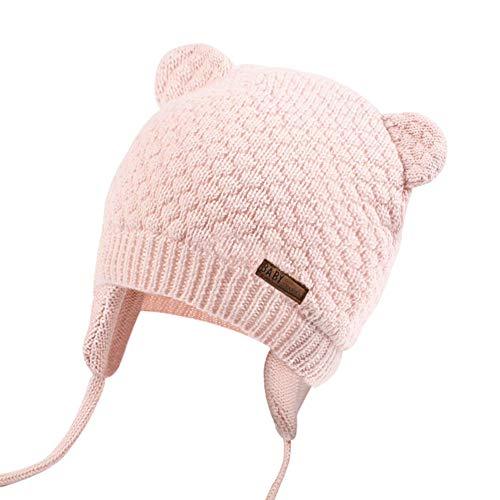 JOYORUN Unisex - Baby Mütze Beanie Strickmütze Unifarbe Wintermütze Rosa 38-42cm (Hersteller Größe: S)