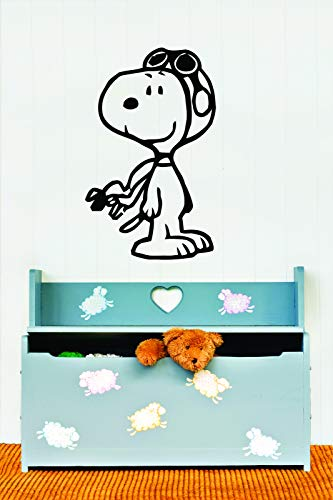 Charlie Brown and Snoopy Wall Vinyl Art Decal/Peanuts Cartoon Kids Bedroom Stickers Decals/Childs TV Characters/Patty Shermy Snoopy Violet Gray Linus Van Pelt/Goggles Size 15X20inch