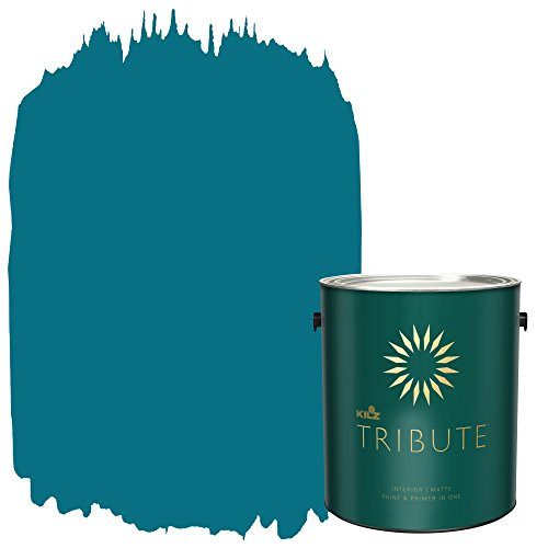 KILZ TRIBUTE Interior Matte Paint and Primer in One, 1 Gallon, True Teal (TB-59)