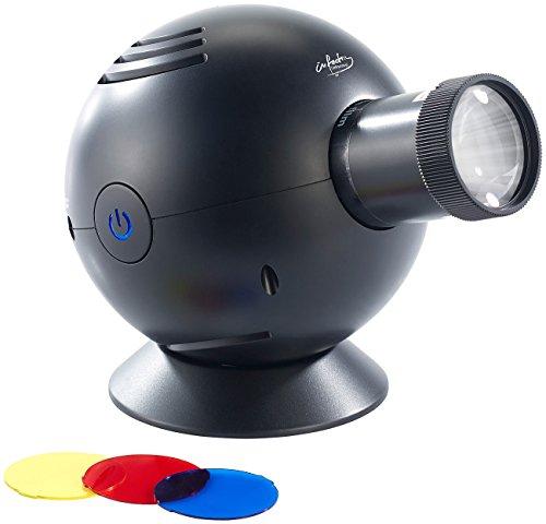 infactory Uhr Projektor: LED-Uhrenprojektor, 3 Farbfilter, projiziert Uhrzeit bis Ø 120 cm (Projektionsuhren)