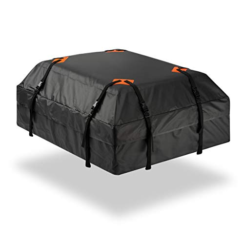 Durable Roof Top Waterproof Cargo Bag - Zone Tech Classic Black 15 Cubic Feet Premium Quality Universal Waterproof Fold-able Leak Proof Traveling Roof Top Car Bag