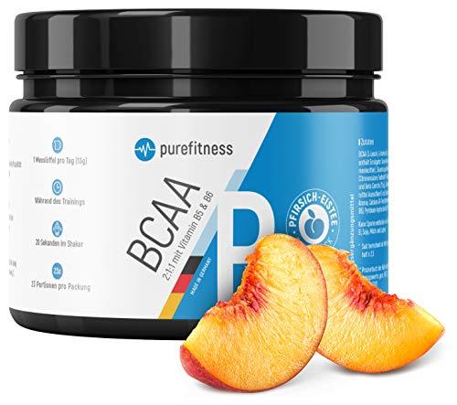 PREMIUM BCAA Pulver 2:1:1 + Vitamin B5 & B6 I 300g I Vegan I Aminosäuren Leucin Isoleucin Valin I LABORZERTIFIZIERT I BCAAS Pulver I Pfirsich-Eistee