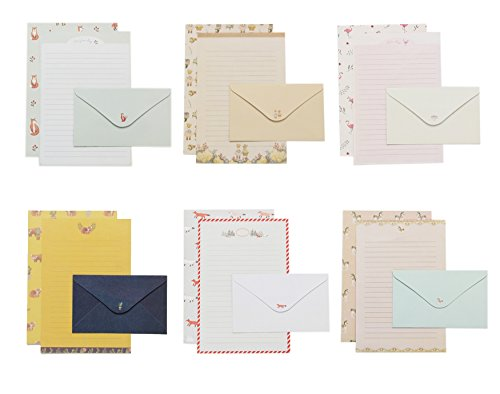 IMagicoo 32 Lovely Cute Writing Stationery Paper Letter Set with 16 Envelope + 1 Sheet Label Seal Sticker (Style-11(8.3x5.8))
