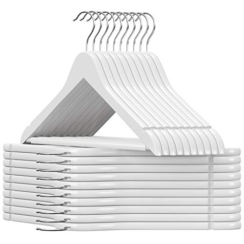 SONGMICS 20 Pezzi - Grucce Portabiti in Legno d'Acero Verniciato Bianco 44,5 x 1,2 x 23 cm CRW03W-20