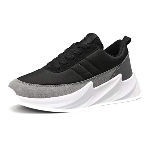 CLYMB Casual Shoes Men Shark Design Bottom Platform Sneakers Men Mesh Breathable Shoes Male Mixed Colors Trainers Shoes for Mens (Black Grey, Numeric_9)