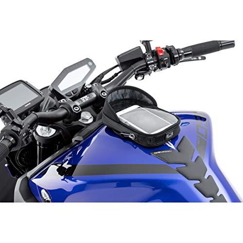 QBag Tankrucksack Motorrad Magnet Tanktasche Motorrad Tanktasche 14 Magnet für Smartphone/Navi, Blendschutz, großes Sichtfenster, 2 Kabeldurchführungen, weiche, lackschonende Auflagefläche, Schwarz