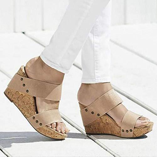 ypyrhh Sandalias destalonadas con Tiras,Zapatos de Apoyo de Gran tamaño Transpirables con tacón de cuña,Sandalias de tacón de cuña-Beige_35,Drain Quick Bathroom Mule